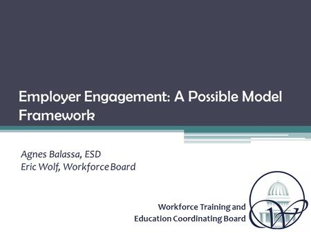 Workforce Training and Education Coordinating Board Employer Engagement: A Possible Model Framework Agnes Balassa, ESD Eric Wolf, Workforce Board.