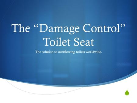 " The ""Damage Control"" Toilet Seat The solution to overflowing toilets worldwide."