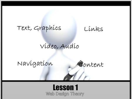 Lesson 1 Text, Graphics Links Content Navigation Video, Audio.
