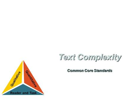 Text Complexity and the Common Core Standards. Building knowledge through content-rich nonfiction (text complexity) Reading, writing, and speaking grounded.