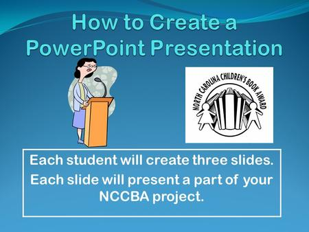 Each student will create three slides. Each slide will present a part of your NCCBA project.