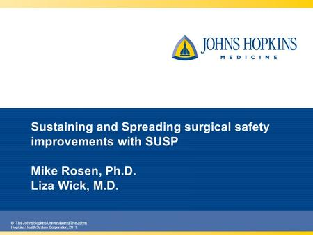 © The Johns Hopkins University and The Johns Hopkins Health System Corporation, 2011 Sustaining and Spreading surgical safety improvements with SUSP Mike.