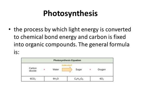 Photosynthesis the process by which light energy is converted to chemical bond energy and carbon is fixed into organic compounds. The general formula is: