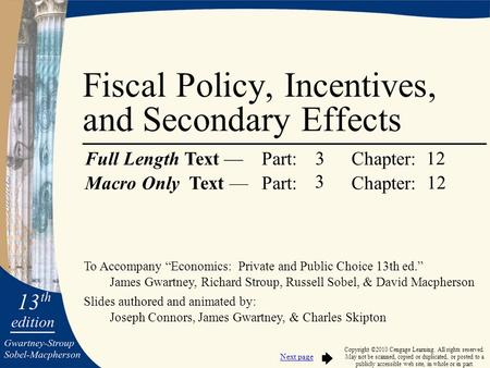 "To Accompany ""Economics: Private and Public Choice 13th ed."" James Gwartney, Richard Stroup, Russell Sobel, & David Macpherson Slides authored and animated."