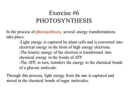Exercise #6 PHOTOSYNTHESIS photosynthesis In the process of photosynthesis, several energy transformations take place. -Light energy is captured by plant.