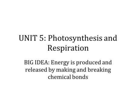 UNIT 5: Photosynthesis and Respiration