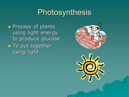 Photosynthesis  Process of plants using light energy to produce glucose  To put together using light.