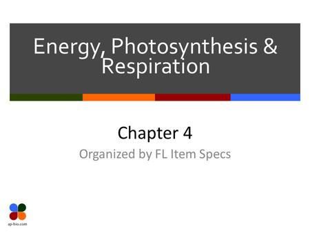 Energy, Photosynthesis & Respiration Chapter 4 Organized by FL Item Specs.