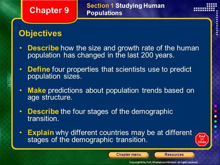 Section 1 Studying Human Populations