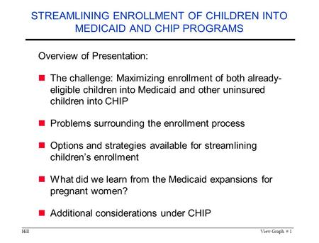 HillView Graph # 1 STREAMLINING ENROLLMENT OF CHILDREN INTO MEDICAID AND CHIP PROGRAMS Overview of Presentation: The challenge: Maximizing enrollment of.