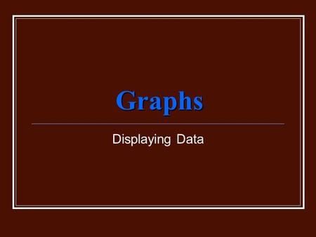 Graphs Displaying Data. Graphing Graphs are visual displays of data. Different types of graphs are used for different purposes. The correct type of graph.