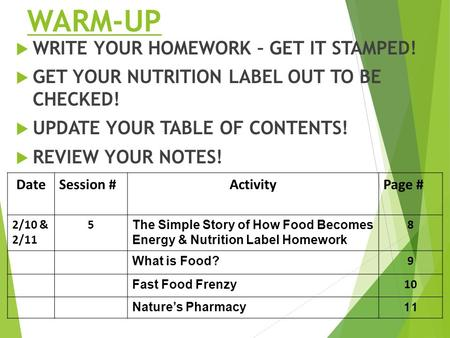 WARM-UP  WRITE YOUR HOMEWORK – GET IT STAMPED!  GET YOUR NUTRITION LABEL OUT TO BE CHECKED!  UPDATE YOUR TABLE OF CONTENTS!  REVIEW YOUR NOTES! DateSession.