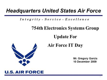 Headquarters United States Air Force I n t e g r i t y - S e r v i c e - E x c e l l e n c e 754th Electronics Systems Group Update For Air Force IT Day.
