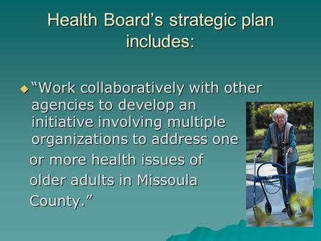 "Health Board's strategic plan includes:  ""Work collaboratively with other agencies to develop an initiative involving multiple organizations to address."