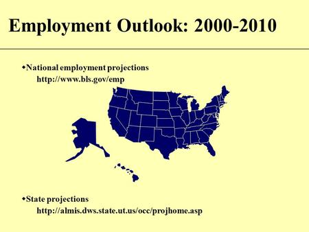 Employment Outlook: 2000-2010  National employment projections   State projections