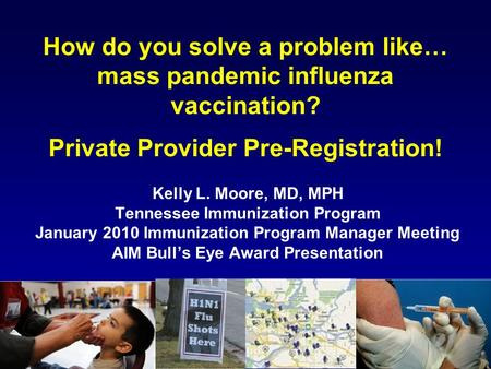 How do you solve a problem like… mass pandemic influenza vaccination? Private Provider Pre-Registration! Kelly L. Moore, MD, MPH Tennessee Immunization.