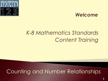 1 K-8 Mathematics Standards Content Training Counting and Number Relationships.