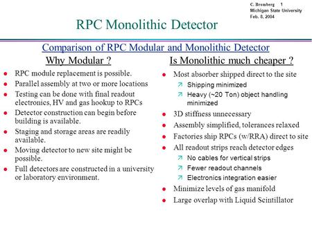 C. Bromberg 1 Michigan State University Feb. 8, 2004 RPC Monolithic Detector l Most absorber shipped direct to the site äShipping minimized äHeavy (~20.