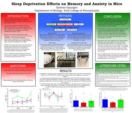 Sleep Deprivation Effects on Memory and Anxiety in Mice Eyitemi Opuogen Department of Biology, York College of Pennsylvania Sleep is imperative for a person's.