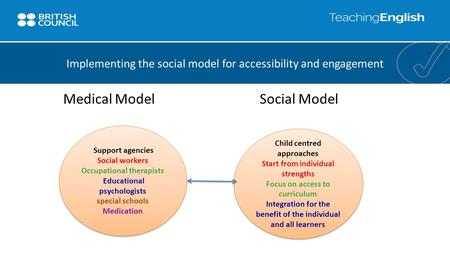 Medical Model Social Model Implementing the social model for accessibility and engagement Support agencies Social workers Occupational therapists Educational.