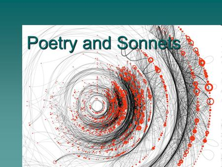 Poetry and Sonnets. Poetry Terminology  Speaker- voice behind the poem establishing a point of view  Imagery- verbal expression of a sensory detail.