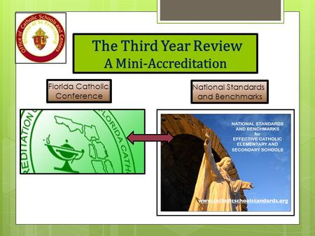 The Third Year Review A Mini-Accreditation Florida Catholic Conference National Standards and Benchmarks.