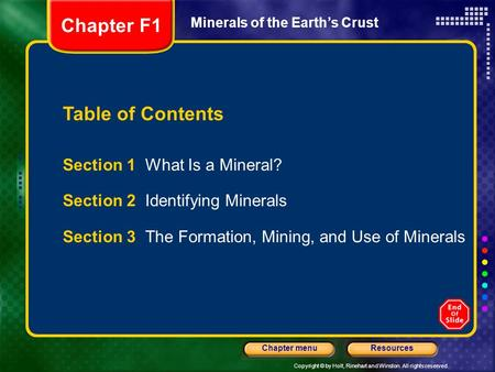 Chapter F1 Table of Contents Section 1 What Is a Mineral?
