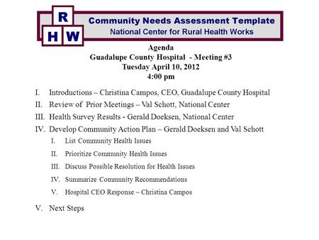 AGENDA Community Meeting 1 ppt download – Community Needs Assessment Template