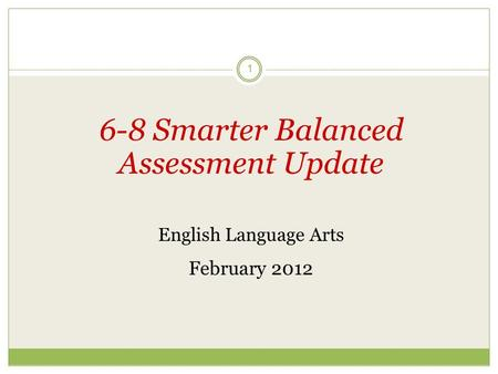 1 6-8 Smarter Balanced Assessment Update English Language Arts February 2012.