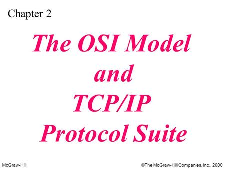 McGraw-Hill©The McGraw-Hill Companies, Inc., 2000 Chapter 2 The OSI Model and TCP/IP Protocol Suite.