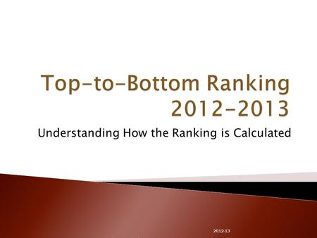 Understanding How the Ranking is Calculated 2012-13.