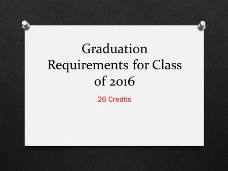 Graduation Requirements for Class of 2016 26 Credits.
