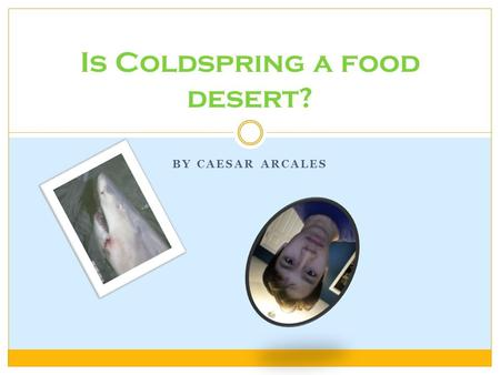 BY CAESAR ARCALES Is Coldspring a food desert?. What is a food desert? A food desert is a residential area where healthy food options are too expensive.