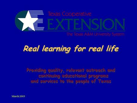 March 2003 Real learning for real life Providing quality, relevant outreach and continuing educational programs and services to the people of Texas Providing.