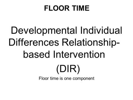 Developmental Individual Differences Relationship-based Intervention