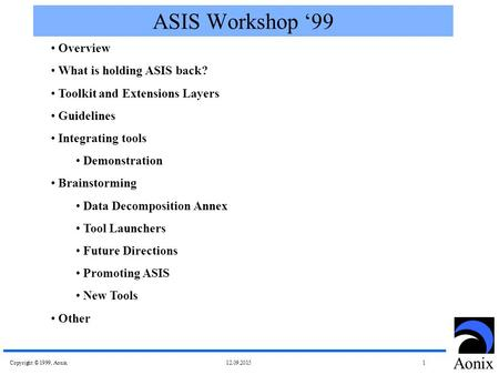 Copyright © 1999, Aonix 12.09.2015 1 Aonix ASIS Workshop '99 Overview What is holding ASIS back? Toolkit and Extensions Layers Guidelines Integrating tools.