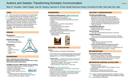 Z A Authors and Zealots: Transforming Scholarly Communication Mary E. Youngkin, Valeri Craigle, Joan M. Gregory, Spencer S. Eccles Health Sciences Library,