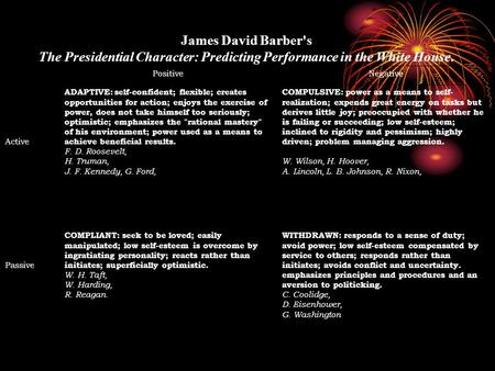 James David Barber's The Presidential Character: Predicting Performance in the White House. PositiveNegative Active ADAPTIVE: self-confident; flexible;