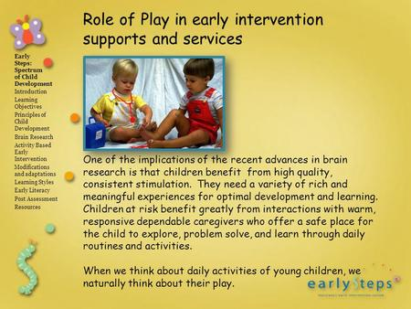 Early Steps: Spectrum of Child Development Introduction Learning Objectives Principles of Child Development Brain Research Activity Based Early Intervention.