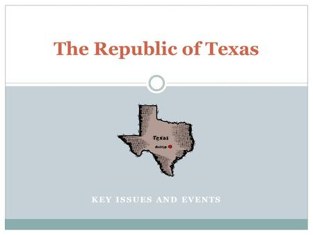 KEY ISSUES AND EVENTS The Republic of Texas. President Sam Houston 1836-1838 New Capital is moved to Houston United States officially recognized the Republic.