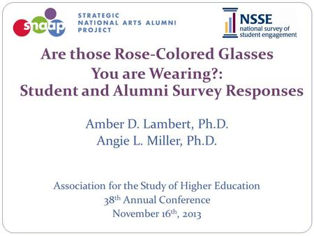 Are those Rose-Colored Glasses You are Wearing?: Student and Alumni Survey Responses Amber D. Lambert, Ph.D. Angie L. Miller, Ph.D. Association for the.