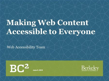 Making Web Content Accessible to Everyone Web Accessibility Team June 9, 2015.