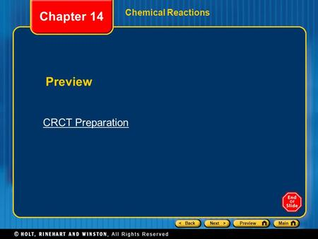 Chapter 14 Chemical Reactions Preview CRCT Preparation.