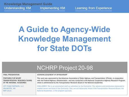 A Guide to Agency-Wide Knowledge Management for State DOTs