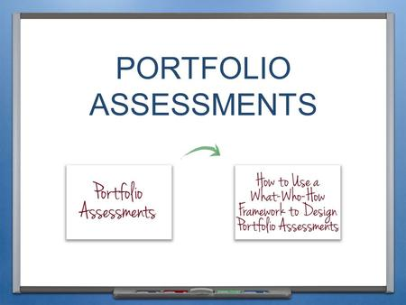 PORTFOLIO ASSESSMENTS. INTRODUCTION & PURPOSE Students or teachers collect student work products.