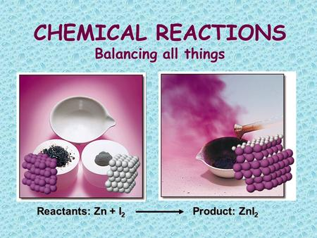 CHEMICAL REACTIONS Balancing all things Reactants: Zn + I 2 Product: ZnI 2.