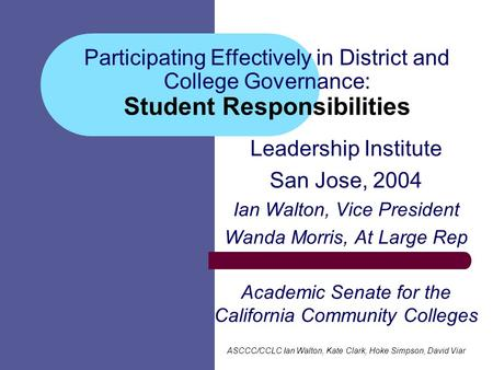 Participating Effectively in District and College Governance: Student Responsibilities Leadership Institute San Jose, 2004 Ian Walton, Vice President Wanda.
