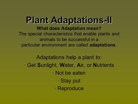 Plant Adaptations-II Plant Adaptations-II What does Adaptation mean? The special characteristics that enable plants and animals to be successful in a particular.