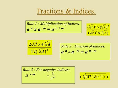 Fractions & Indices. Rule 1 : Multiplication of Indices. a n x a m = a n + m Rule 3 : For negative indices:. a - m Rule 2 : Division of Indices. a n 