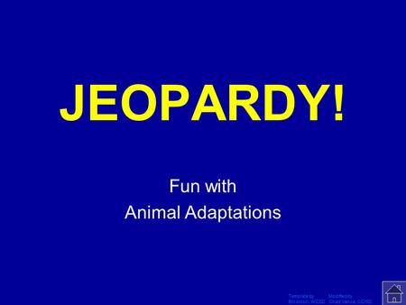 Template by Modified by Bill Arcuri, WCSD Chad Vance, CCISD Click Once to Begin JEOPARDY! Fun with Animal Adaptations.